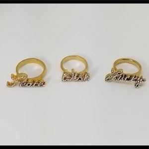 """Peace"" Pave Word Ring w/ Swarovski Crystal"